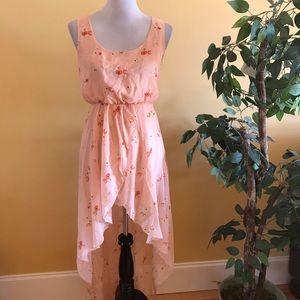 ASOS Peach Pink High Low Sleeveless Floral Dress